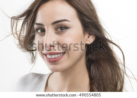The young woman's portrait with happy emotions, Beautiful young girl smiling