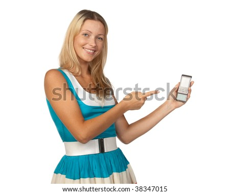 The young woman shows on a mobile phone over white background.