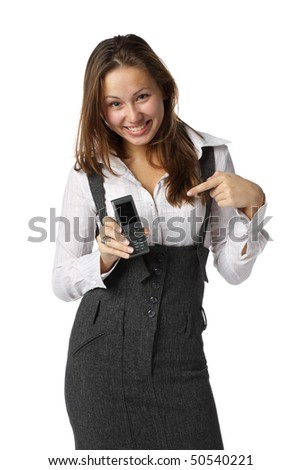 The young woman shows on a mobile phone over white background. - stock photo