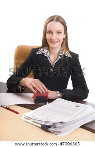 The young woman the secretary stamp the document at the desk. A white background.