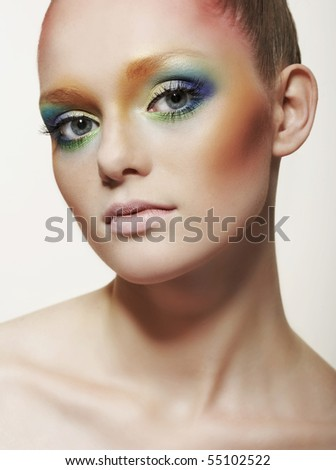 The young woman with a bright make-up - stock photo