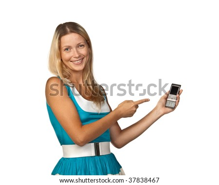 The young woman with a mobile phone on a white background.