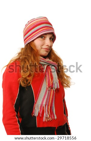 The young woman with a scarf and in a cap, the confident sensual.