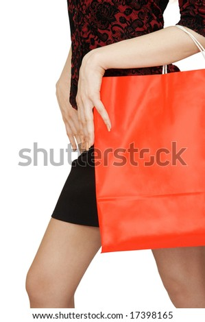 The young woman with shopping bag