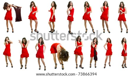 The young women in red dress on a white background. Isolation. Collage - stock photo
