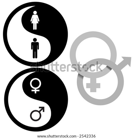 The Zen of Sex - Yin Yang and Interlocking Male and Female symbols, for all your gender issue needs. - stock photo