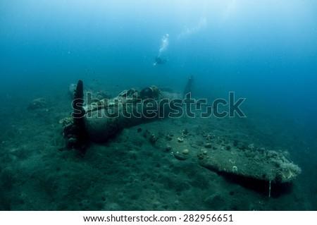 The Zero - A Japanese World War Two Plane Wreck Underwater - stock photo