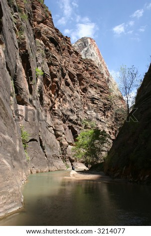 The Zion Narrows in Zion National Park, Utah.