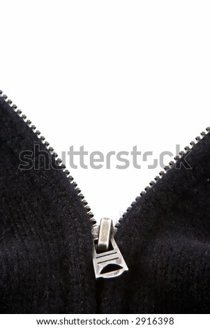 The zipper of a black sweater open in a V. The background is white for display of text.