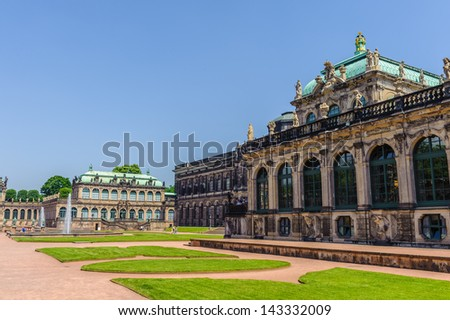 The Zwinger, a palace in Dresden, eastern Germany, built in Rococo style It served as the orangery, exhibition gallery and festival arena of the Dresden Court. - stock photo