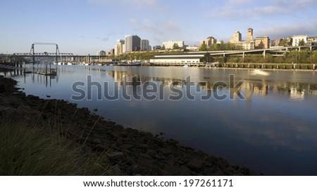 Thea Foss Waterway Waterfront River Buildings North Tacoma Washington - stock photo