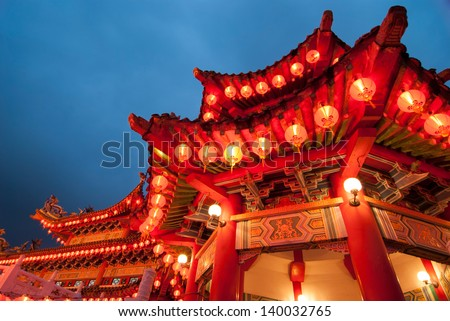 thean hou temple in kuala lumpur malaysia during chinese new year celebration  - stock photo