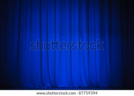 theater blue curtain - stock photo