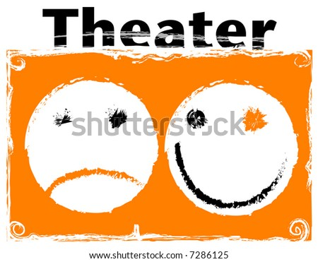 Theater comedy and tragedy masks - stock photo
