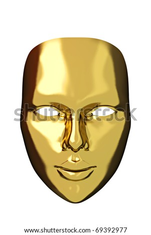 Theater concept with the gold mask on white. - stock photo
