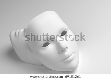 Theater concept with the white plastic masks on white. - stock photo