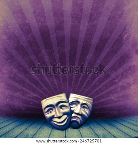 Theater concept with two masks for art design of theatrical retro poster. Vintage background with old theater stage on grange texture. - stock photo
