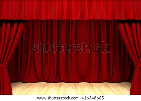 Theater curtain.Act drape.3D illustration