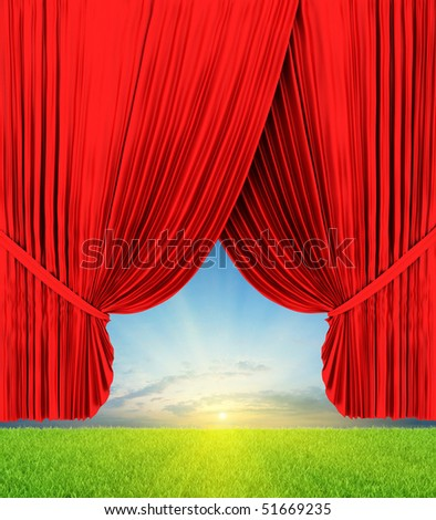 Theater curtain illustration with nature - stock photo