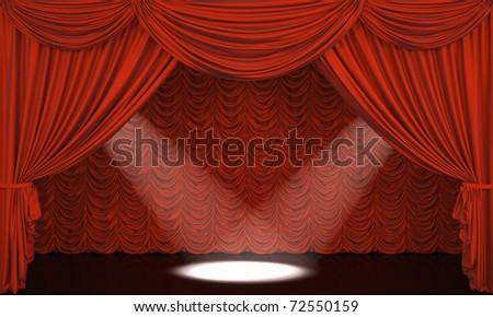 Theater curtain.  Presentation. Cinema. - stock photo