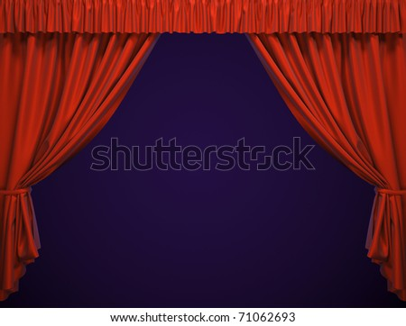 Theater curtain.  Presentation. Movies. - stock photo