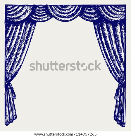 Theater curtain. Raster version - stock photo