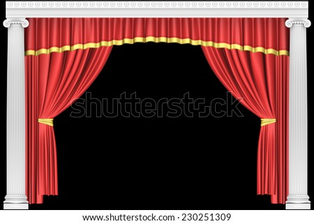 Theater curtain with antique columns