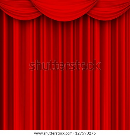 Theater curtain with crossed beams. Presentation. Movies. - stock photo