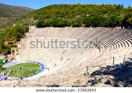 theater in Epidaurus, Greece - stock photo