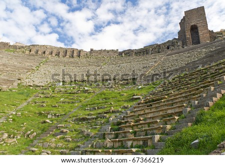 Theater in the Ruins of the Ancient Greek City of Pergamon in Bergama, Turkey - stock photo