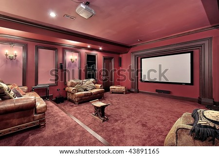 Theater in upscale home - stock photo