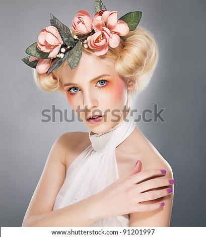 Theater - luxurious supermodel lovely female blonde in crown of flowers - series of photos - stock photo