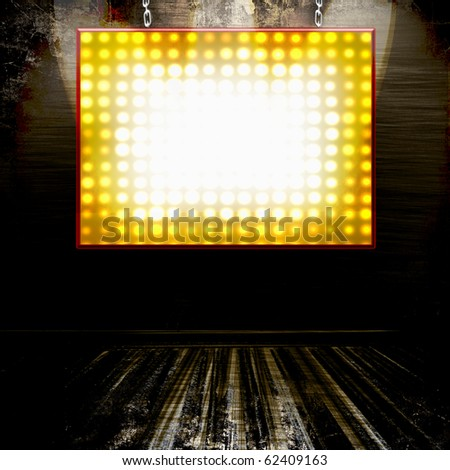 Theater Marquee Lights Billboard Sign On Grunge Wall - stock photo