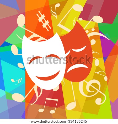 Theater masks and musical notes on abstract art background - stock photo
