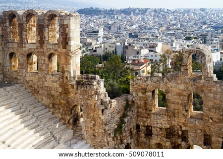 Theater of Dionysus and inhabited quarters of a city  from the Acropolis, Athens, Greece