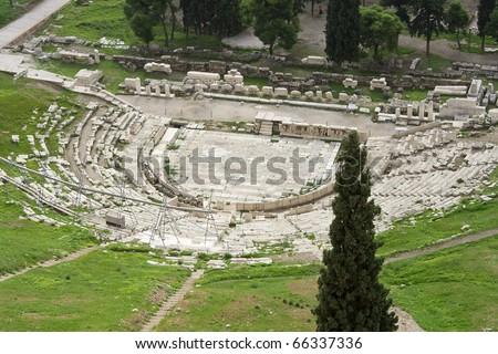 Theater of Dionysus ruins, Acropolis, Athens, Greece, Europa, - stock photo