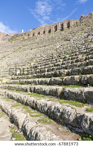 Theater of the Ancient Greek City of Pergamon, Now a Popular Tourist Attraction in Turkey - stock photo