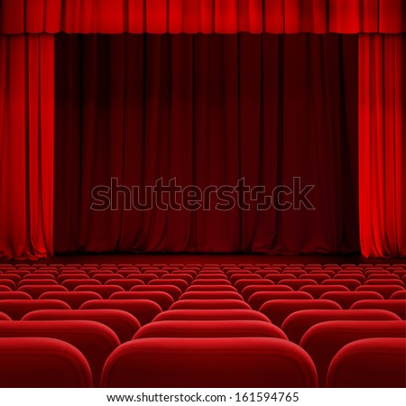 theater or cinema curtain or drapes with red seats - stock photo