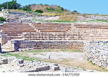 Theater.Ruins of ancient greek colony Khersones - stock photo