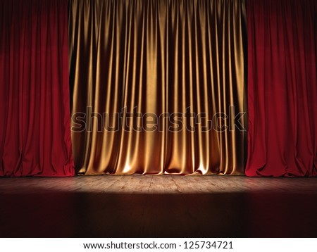 Theater Show stage red and golden curtains with Spotlight - stock photo