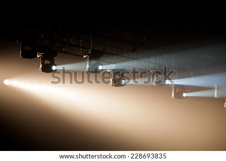 theater spot light on black background - stock photo