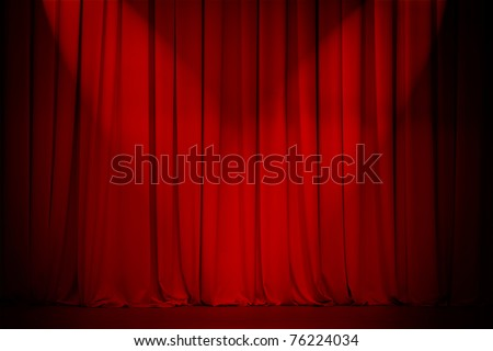 theater stage red curtain with two spotlights cross - stock photo