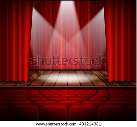 theater stage with a red curtain