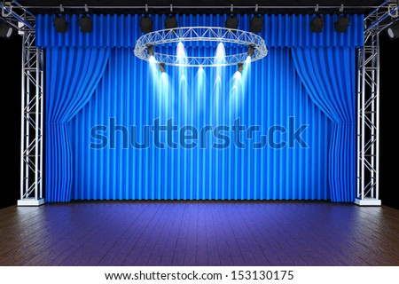 Theater stage with blue curtains and spotlights  - stock photo