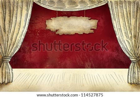 Theater stage with curtain and baner - stock photo
