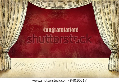 Theater stage with curtain and inscription Congatulations