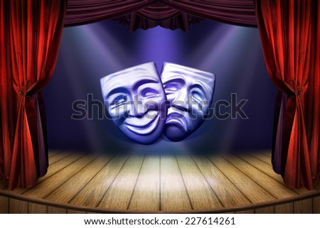 Theater stage with curtains and spotlights. Theatrical scene for art concept with a carnival masks and searchlights. Theater poster with a masks for art performance.