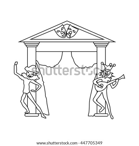 Theater stage with open curtains and two actors icon in outline style on a white background - stock photo