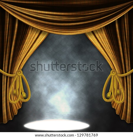 Theater stage with open golden curtains and three spotlights and smoke.