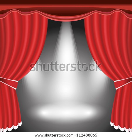 Theater stage with open red curtain and three spotlight. Raster version - stock photo